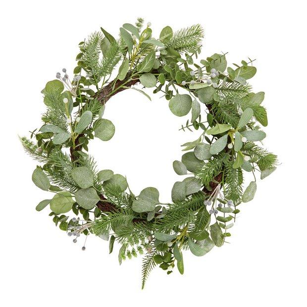Christmas Wreaths.Buy Argos Home Christmas Wreath Winter S Mist Christmas Wreaths And Garlands Argos