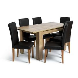Habitat Miami Oak Effect Extending Table & 6 Chairs