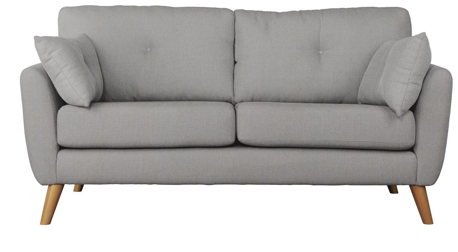 Argos Home Kari 3 Seater Fabric Sofa   Light Grey