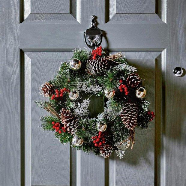 Silver Christmas Wreath.Buy Premier Decorations 40cm Dressed Wreath Silver Christmas Wreaths And Garlands Argos