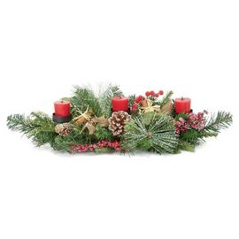 Premier Decorations 60cm Natural 3 Candle Centre Piece