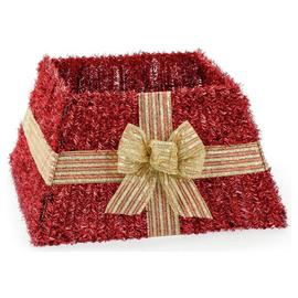 Premier Decorations Red Tinsel Skirt with Gold Bow