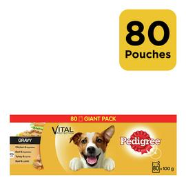 Pedigree Wet Dog Food Pouches Mixed in Gravy 80 Pouches