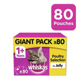 Whiskas 1+ Wet Cat Food Pouches Poultry in Jelly 80 Pouches