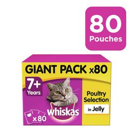 Whiskas 7+ Wet Cat Food Pouches Poultry in Jelly 80 Pouches