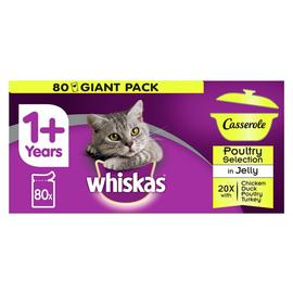 Whiskas 1+ Casserole Wet Cat Food Poultry Jelly 80 Pouches