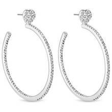 Lipsy Silver Colour Crystal Heart Hoop Earriings