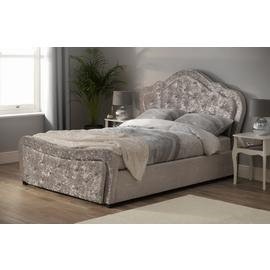 Argos Home Venice Double Crushed Velvet Bed Frame - Silver
