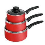 more details on HOME Aluminium 3 Piece Pan Set - Red.