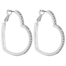 Lipsy Silver Colour Crystal Heart Hoop Earrings