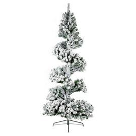 Premier Decorations 7ft Spiral Snow Tree - Green