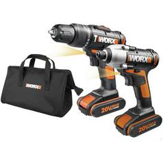 WORX 20V Hammer Drill and Impact Driver Cordless Combi Kit