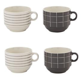 Sainsbury's Home Set of 4 Grey Check Stacking Mugs