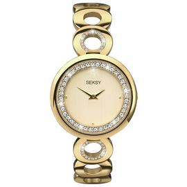 Seksy Ladies' Gold Plated Stone Set Bracelet Watch