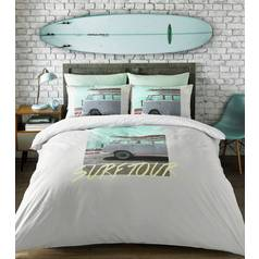 VW Coast Surfer Grey Bedding Set - Double