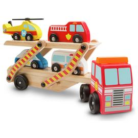 Melissa & Doug Wooden Emergency Vehicle Carrier