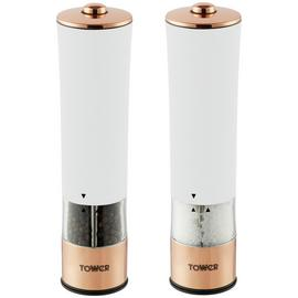 Tower Electric Salt and Pepper Mill - White and Rose Gold