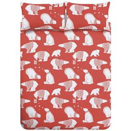 Catherine Lansfield Polar Bear Fleece Bedding Set – Double