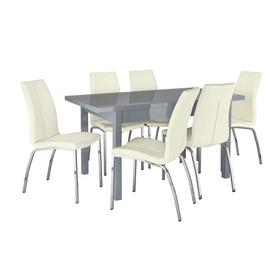 Argos Home Lyssa Gloss Extending Table & 6 Ivory Milo Chairs
