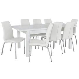 Argos Home Lyssa XL Gloss Extending Table & 8 Ivory Chairs