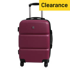 IT Luggage 4 Wheel Expandable Trolley Suitcase - Plum