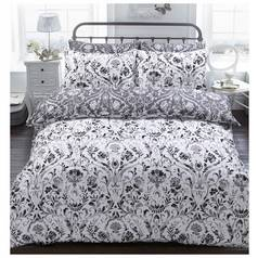 Argos Home Monochrome Painted Damask Bedding Set - Double