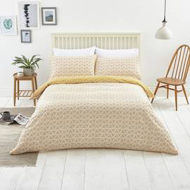 Argos Home Mustard Zig Zag and Dot Bedding Set - Double