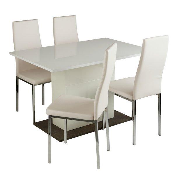 5b7045ff2d2e Buy Argos Home Holborn Gloss Pedastal Table   4 Chairs - White ...
