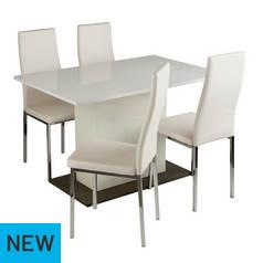 d0912f0b7b56 Argos Home Holborn Gloss Pedastal Table   4 Chairs