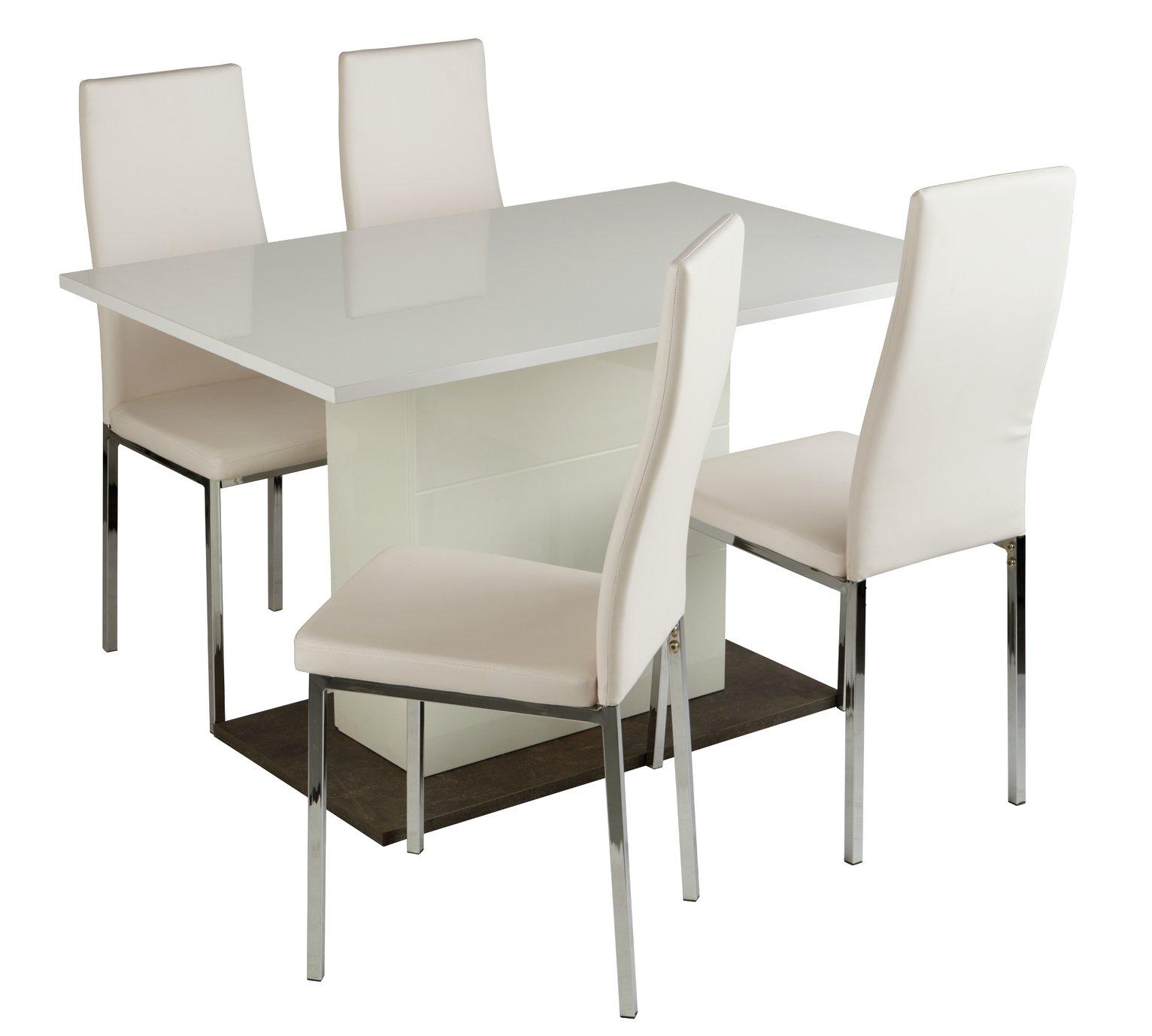Argos Home Holborn Gloss Pedastal Table u0026 4 Chairs  sc 1 st  Argos & Dining Sets | Kitchen Tables u0026 Chairs | Argos