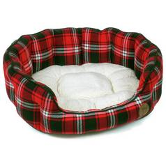 Petface Medium Oval Dog Bed - Red Tartan