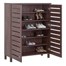 Argos Home Slatted Shoe Cabinet - Mahogany Effect