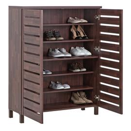 Argos Home Slatted Shoe Cabinet - Mahogany Effect