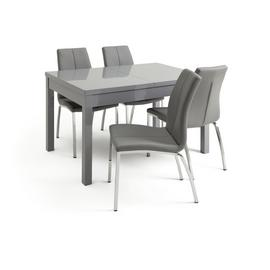 Argos Home Lyssa Gloss Extending Table & 4 Grey Milo Chairs