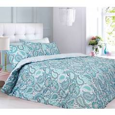 Argos Home Aqua Paisley Bedding Set - Single