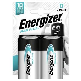 Energizer Max Plus D Alkaline Batteries - Pack of 2