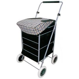 4 Wheel Folding Black and Check Print Shopping Trolley