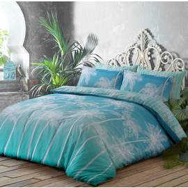 Argos Home Teal Ombre Palm Bedding Set - Double