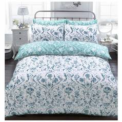 Argos Home Teal Painted Damask Bedding Set - Superking