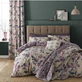 Catherine Lansfield Painted Floral Plum Bedding Set – Double