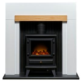 Adam Salzburg 2kW Electric Stove Fire Suite - White & Oak