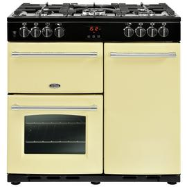 Belling Farmhouse 90DFT Dual Fuel Range Cooker - Cream