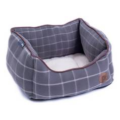 Petface Small Square Dog Bed - Grey Window Check