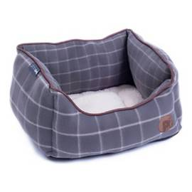 Petface Grey Window Check Square Dog Bed - Small