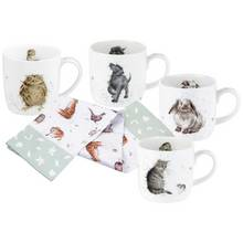 Royal Worcester Set of 4 Wrendale Mugs and Towel Set