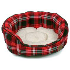 Petface Small Oval Dog Bed - Red Tartan