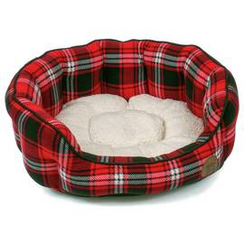Petface Red Tartan Oval Pet Bed - Small