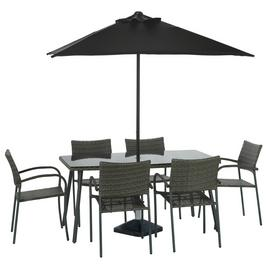 Argos Home Cusco Rattan 6 Seater Dining Set - Grey