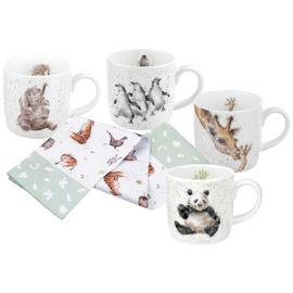 Royal Worcester Set of 4 Wrendale Zoo Mugs and Towel