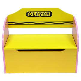 Kiddi Style Pink Crayon Toy Box & Bench